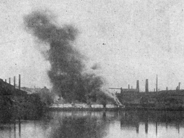 Burning of Barges During 1892 Homestead Strike: Image Credit: Erin Blakemore
