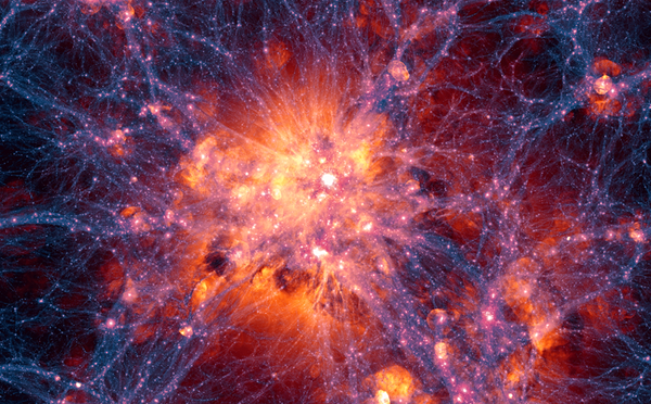 Photo Credit: Ilustris Simulation: Dark Matter Density Overlaid with Gas Velocity Field