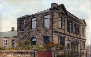 Courtesy of MCA: Postcard showing Morley Public Library, ca 1915, donated to MCA by Jean Spruce. The Library was opened in 1906 and Leeds Libraries have now incorporated a special room there to hold the David Atkinson Archive. They allow MCA to supervise this archive and do general research there.