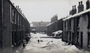 Courtesy of MCA: Sheldrake Place: This photo was taken on 14-March-1947 during the bitterly cold winter. The terraced houses shown were situated off Bridge Street in Morley and they were demolished during the slum clearance programme around 1960. The photographer was a local Morley man, Clifford Sykes, whose family donated a number of his photos to MCA.