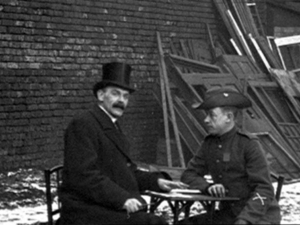Photo Credit: Simon Popple. A still taken from the Mitchell and Kenyon film of Charles Ward (Right) being interviewed by Showman Ralph Pringle (Left).