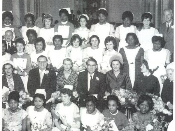Courtesy of BHI and Black Heritage Today UK: Image showing mostly young women who came from the Caribbean and African continents between the 1940s and 1970s. As many as 100,000 came to train as nurses in the NHS.