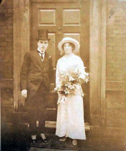 Courtesy of MCA: Brumfitt Wedding. This shows John Henry and May (née Barker) Brumfitt  on the 22-October-1914 after they had been married. He was the son of a local textile manufacturer and she was the daughter of a farmer in the Bretton District who had links with a prominent Morley family. Their grandson David, our Chairman until his tragic death, donated this photo.